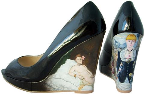 Edouard Manet Black Patent Peeptoe Platform Wedges
