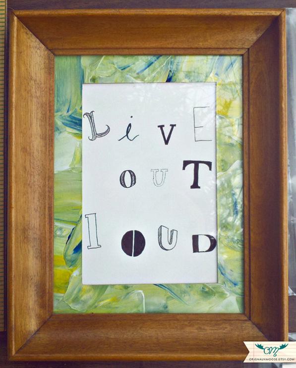 ORIGINAL Live Out Loud Ink Drawing - FRAMED