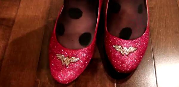 Sparkly DIY Wonder Woman Flats