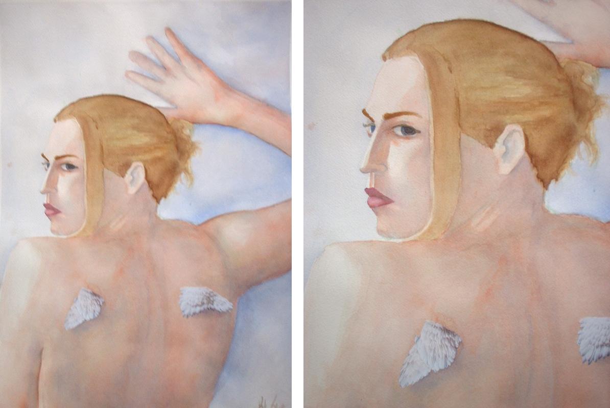 Self w/ Wings, watercolor