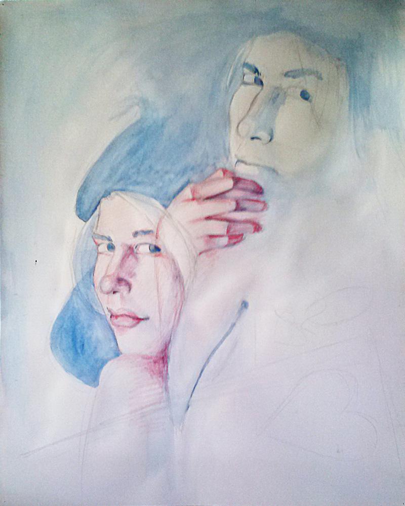 Unfinished Watercolor Self Portrait