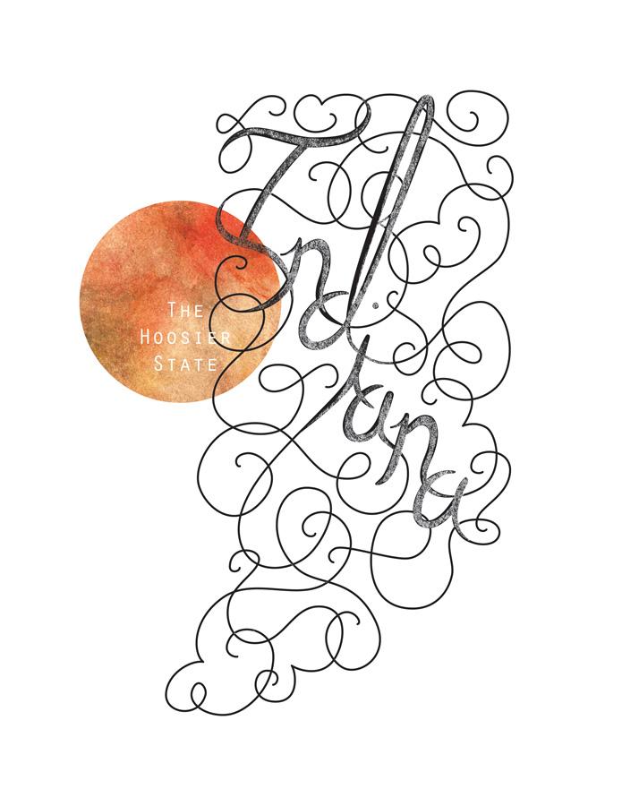 Calligraphic States - Indiana