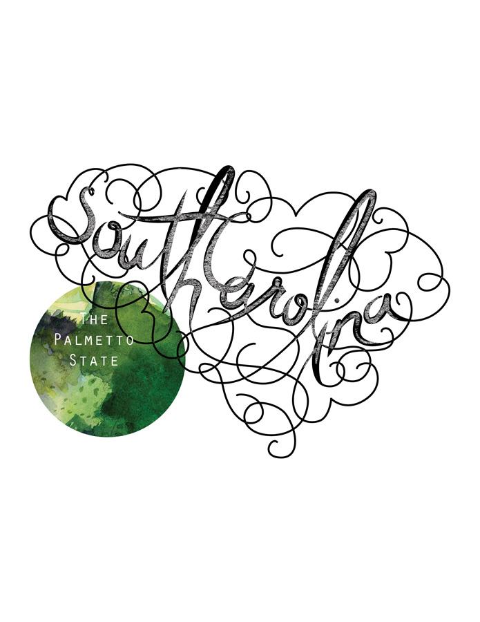 Calligraphic States - South Carolina
