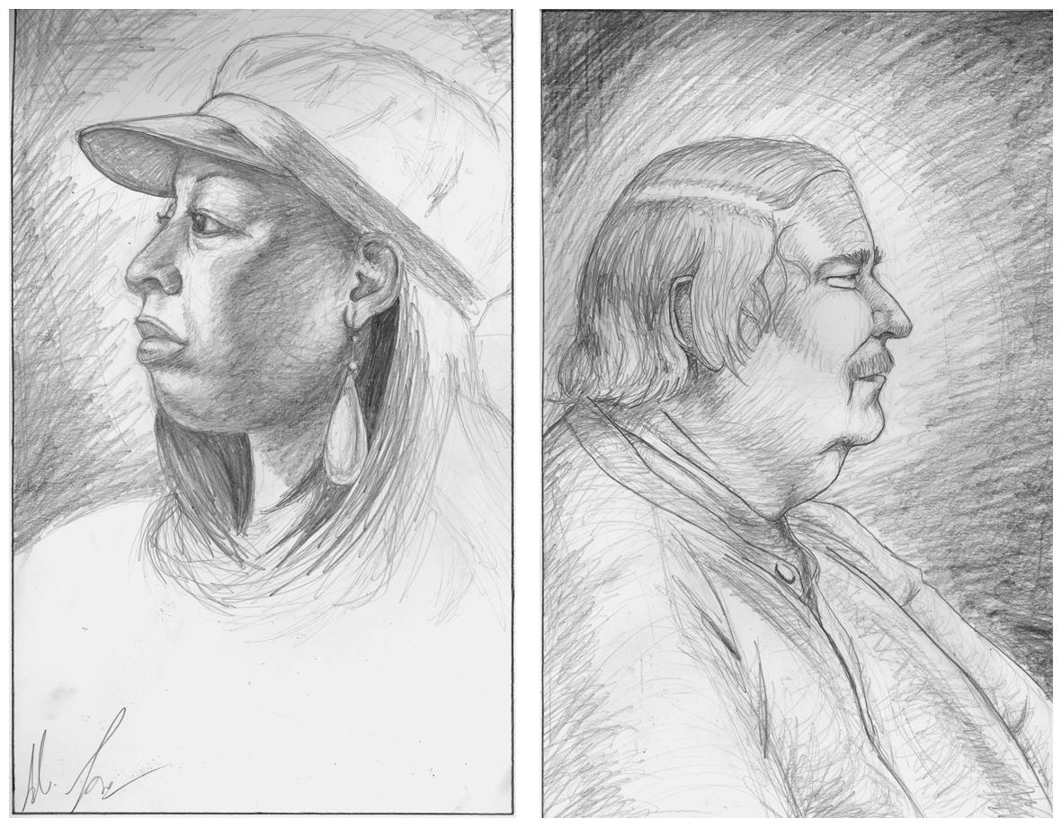 Two Portraits, graphite