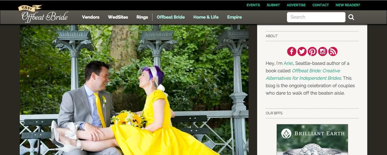 Featured on Offbeat Bride!